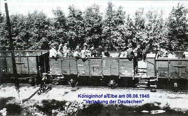 Verladung der Deutschen in Kohlewaggons