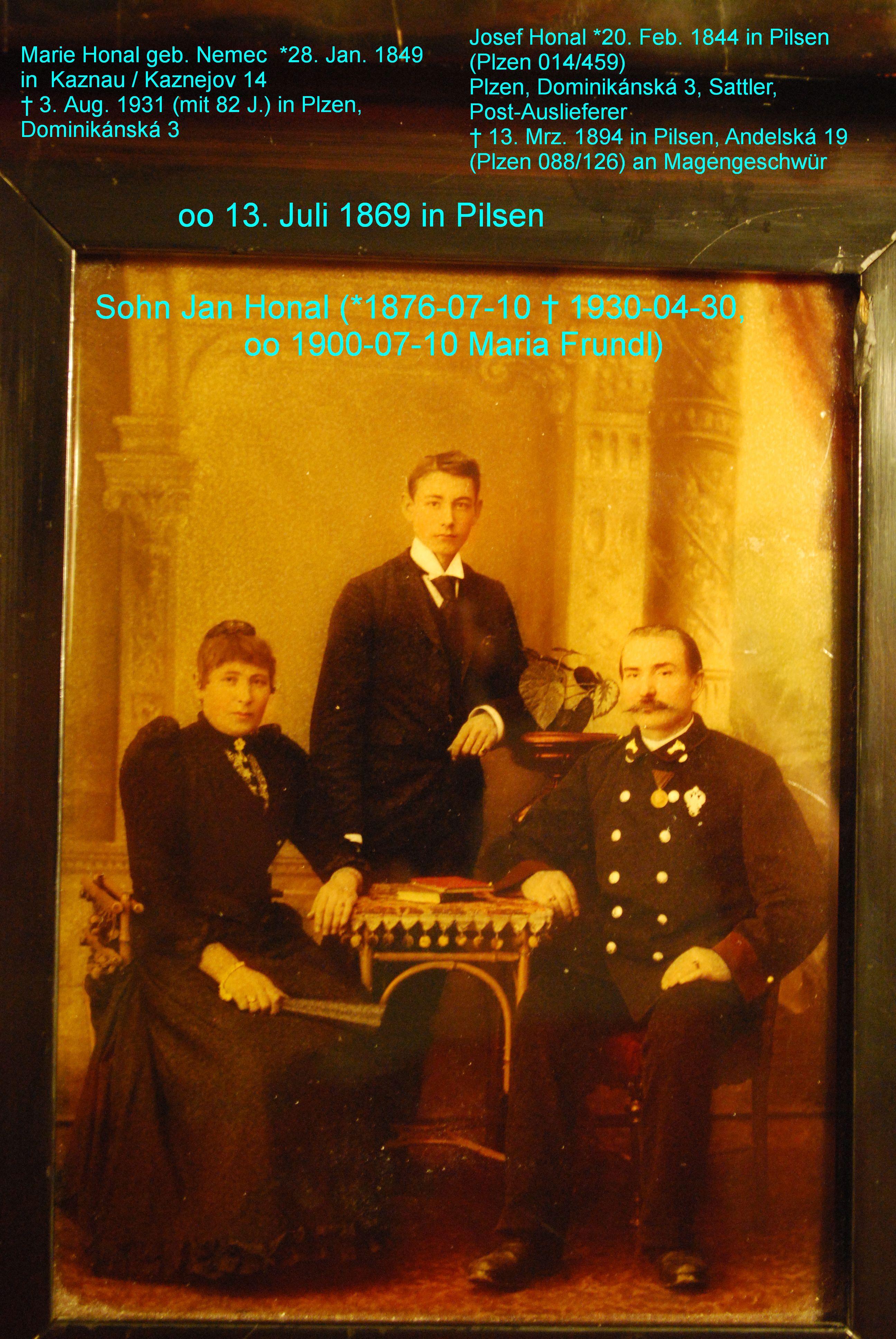 Familie Marie u. Josef Honal (oo 1869 Pilsen)