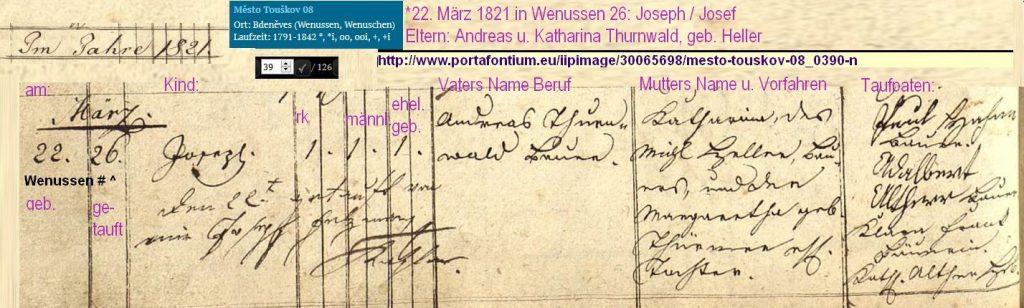 Geburt Josef Thurnwald