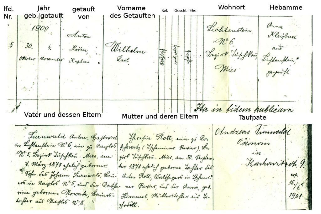 Geburtsmatrik Wilhelm K. Turnwals